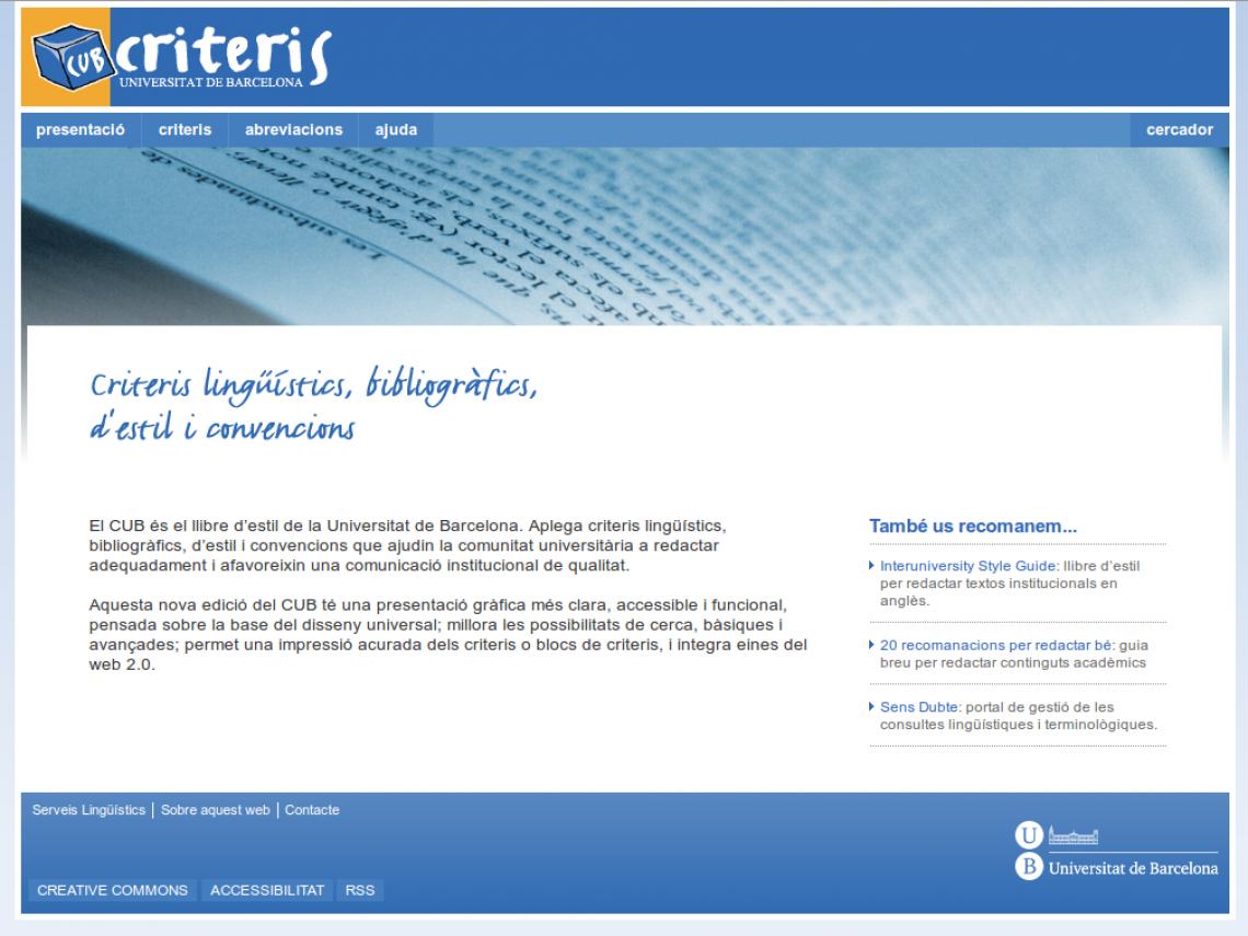 CUB. Criteris lingüístics, bibliogràfics, d'estils i convencions