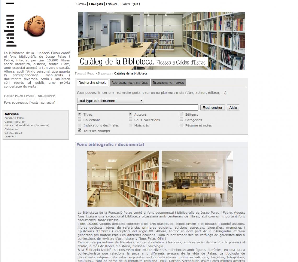 Catàleg de la Biblioteca de la Fundació Palau